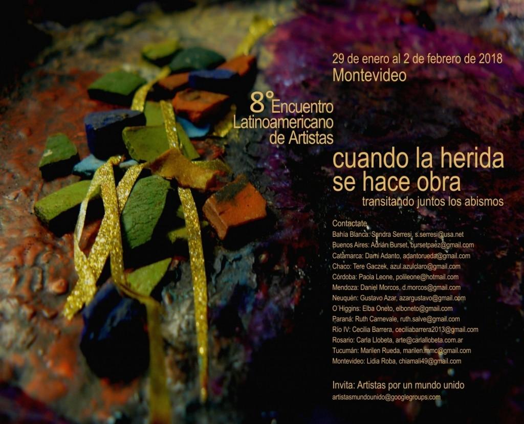invitación 8° encuentro artistas . Montevideo