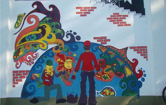 Un mural en la Mariápolis