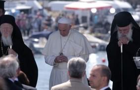 Francis, Bartholomew and Ieronymo embrace the immigrants
