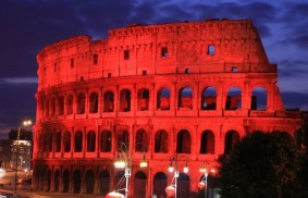 The Roman Colosseum will be lit red