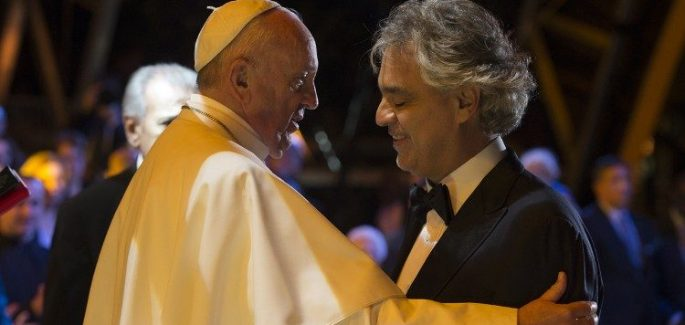 Bocelli with the families in Ireland